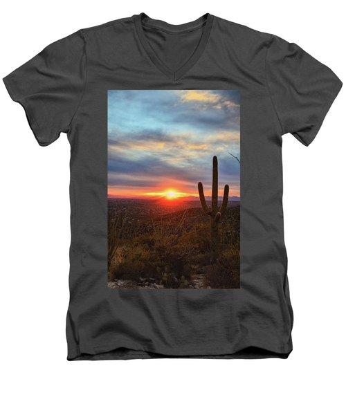 Saguaro Cactus And Tucson At Sunset Men's V-Neck T-Shirt