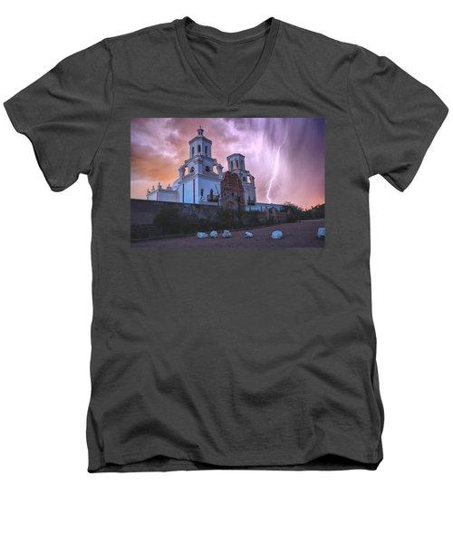 San Xavier Mission Lightning Men's V-Neck T-Shirt