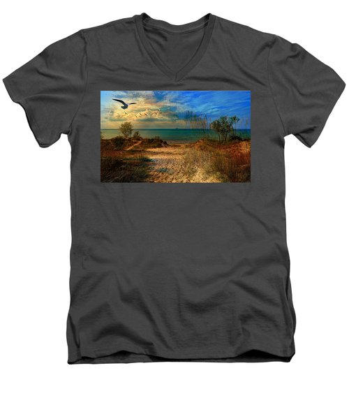 Sand Track To The Ocean At Dusk Men's V-Neck T-Shirt