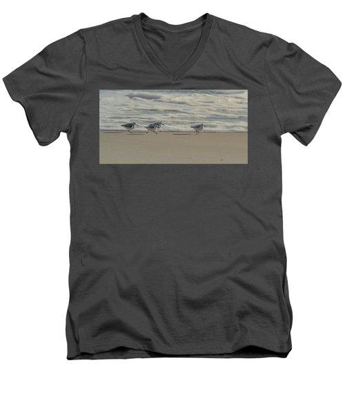 Sanderlings At Assateague Island National Seashore I 1x2 Men's V-Neck T-Shirt