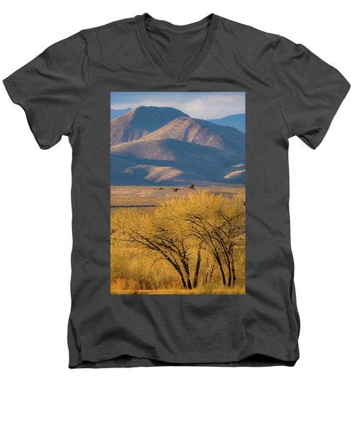 Sandhill Cranes Near The Bosque Men's V-Neck T-Shirt