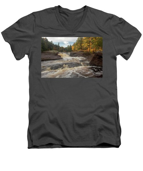 Men's V-Neck T-Shirt featuring the photograph Sandstone Falls - Michigan by Rick Veldman