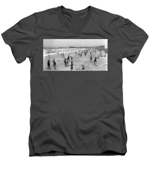Santa Monica Beach Circa 1920 Men's V-Neck T-Shirt