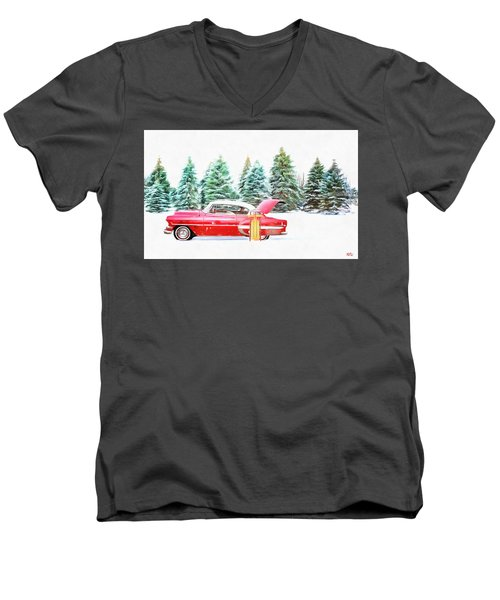 Men's V-Neck T-Shirt featuring the painting Santa's Other Sleigh by Harry Warrick