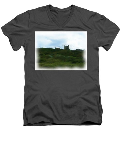 Scarborough Castle Painting Men's V-Neck T-Shirt