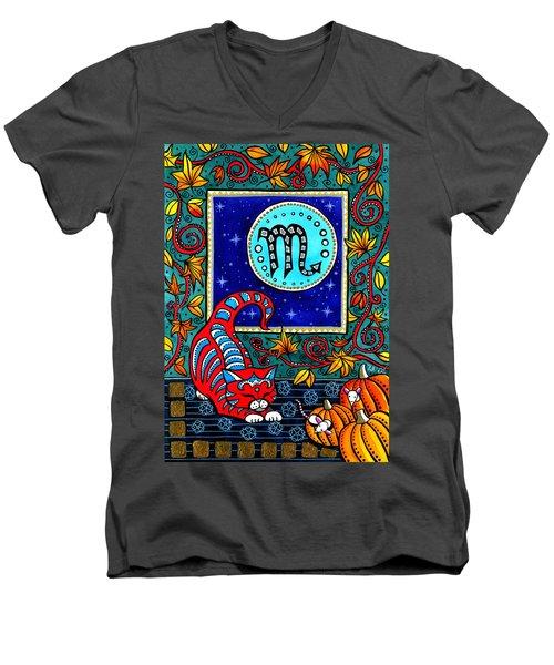 Scorpio Cat Zodiac Men's V-Neck T-Shirt