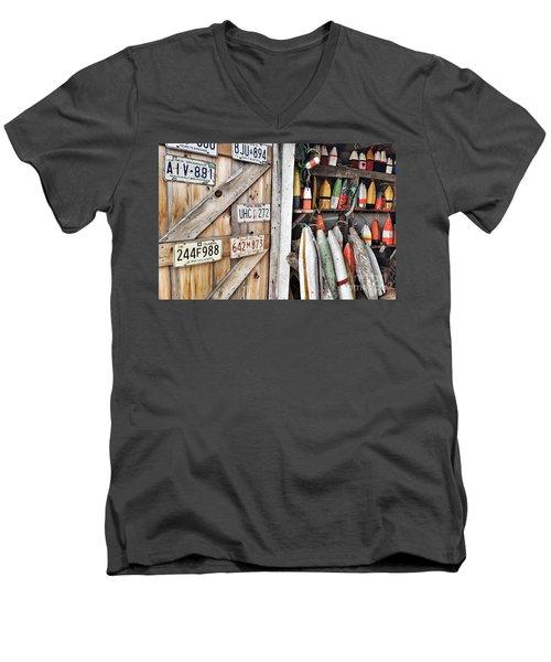 Sea Shack Plates And Buoys Men's V-Neck T-Shirt