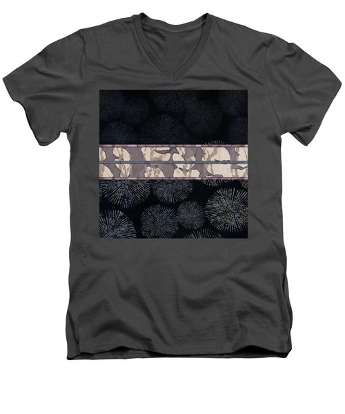 Sea Urchin Contrast Obi Print Men's V-Neck T-Shirt