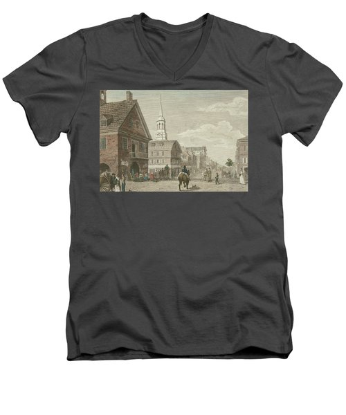 Second Street North From Market St. And Christ Church Men's V-Neck T-Shirt