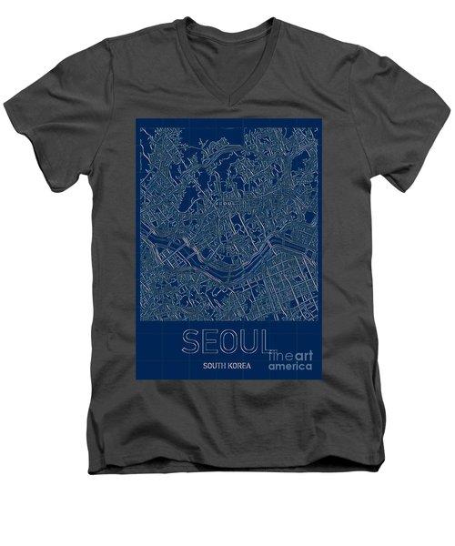 Seoul Blueprint City Map Men's V-Neck T-Shirt