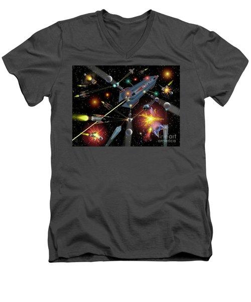 Sferogyls Space Battle Group Men's V-Neck T-Shirt