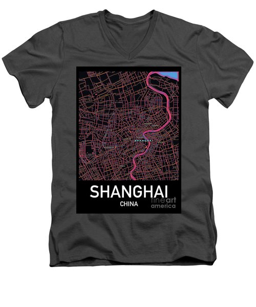 Shanghai City Map Men's V-Neck T-Shirt