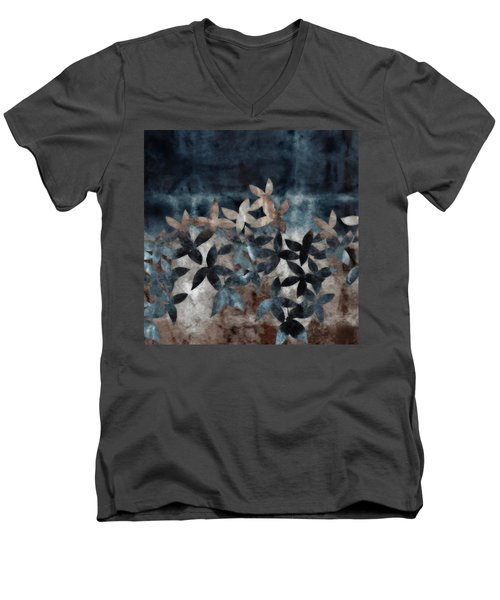 Shibori Leaves Indigo Print Men's V-Neck T-Shirt