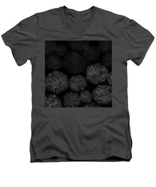 Shibori Sea Urchin Burst Pattern Men's V-Neck T-Shirt