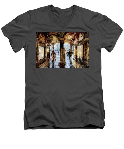 Shopping Area Of Saint Mark Square In Venice, Italy - Watercolor Effect Men's V-Neck T-Shirt
