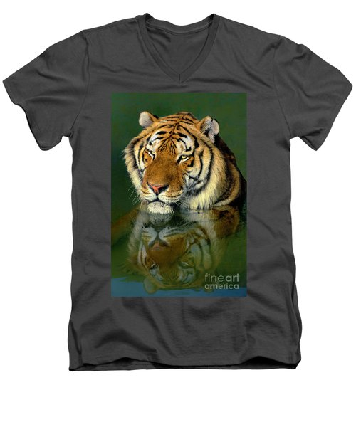 Men's V-Neck T-Shirt featuring the photograph Siberian Tiger Reflection Wildlife Rescue by Dave Welling