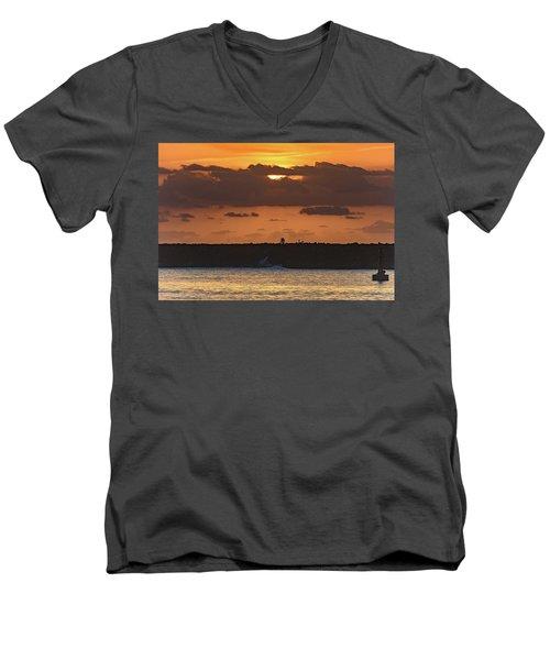 Silhouettes, Breakwall And Sunrise Seascape Men's V-Neck T-Shirt