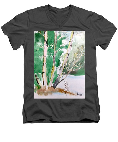 Silver Birch In Snow Men's V-Neck T-Shirt