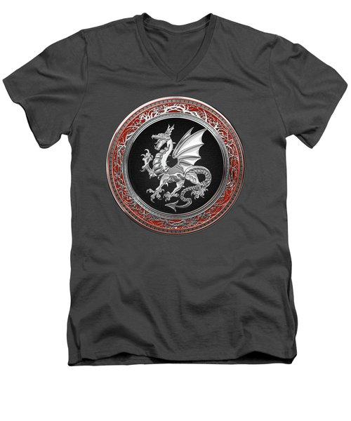 Silver Winged Norse Dragon - Icelandic Viking Landvaettir On Black And Silver Medallion Over Red  Men's V-Neck T-Shirt