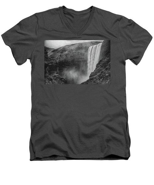 Skogafoss Iceland Black And White Men's V-Neck T-Shirt