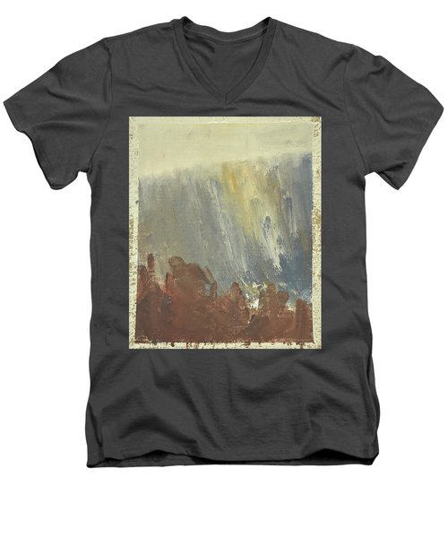 Skogklaedd Fjaellvaegg I Hoestdimma- Mountain Side In Autumn Mist, Saelen _1237, Up To 90x120 Cm Men's V-Neck T-Shirt