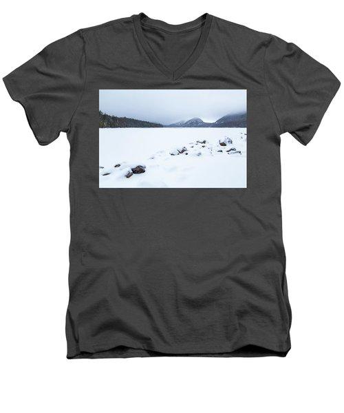 Snow Cover Jordan Pond Men's V-Neck T-Shirt