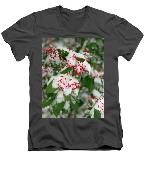 Snow Covered Winter Berries Men's V-Neck T-Shirt