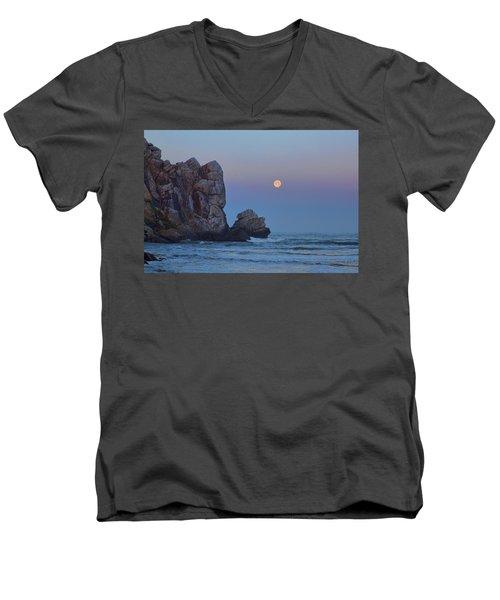Snow Moon And Morro Rock Men's V-Neck T-Shirt
