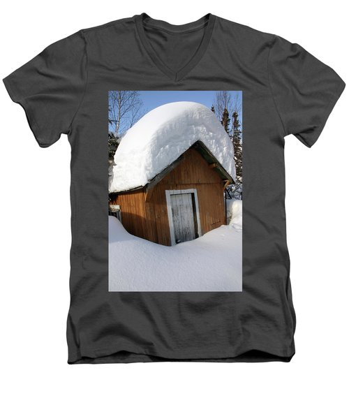Men's V-Neck T-Shirt featuring the photograph Snow On Shed - Northern Ontario Canada by Rick Veldman