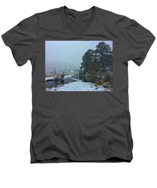Men's V-Neck T-Shirt featuring the photograph Snowstorm At The Lake by Dan Miller