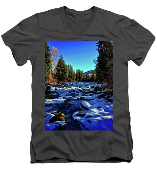 Men's V-Neck T-Shirt featuring the photograph Snowy Eagle River by Dan Miller