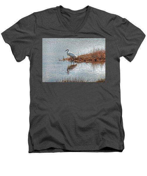 Snowy Egret Hunting A Salt Marsh Men's V-Neck T-Shirt