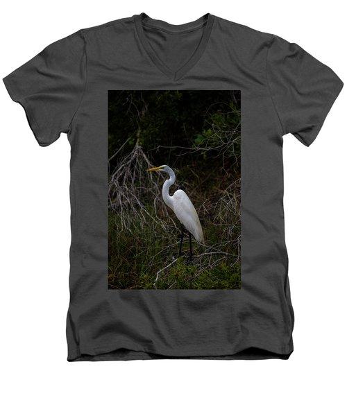 Great Egret On A Hot Summer Day Men's V-Neck T-Shirt