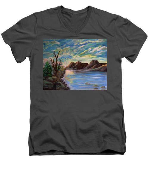 Snowy Range And Lookout Lake Men's V-Neck T-Shirt