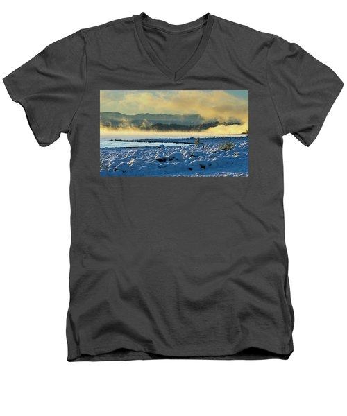 Snowy Shoreline Sunrise Men's V-Neck T-Shirt