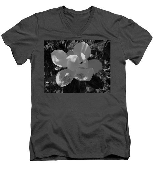 Southern Magnolia In Black And White Men's V-Neck T-Shirt