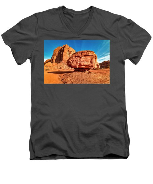 Men's V-Neck T-Shirt featuring the photograph Spearhead Mesa's Balancing Rock by Andy Crawford