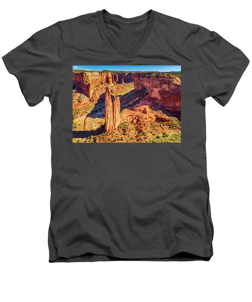 Men's V-Neck T-Shirt featuring the photograph Spider Rock by Andy Crawford