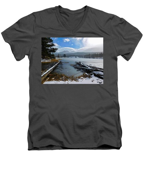 Men's V-Neck T-Shirt featuring the photograph Sprague Lake by Dan Miller