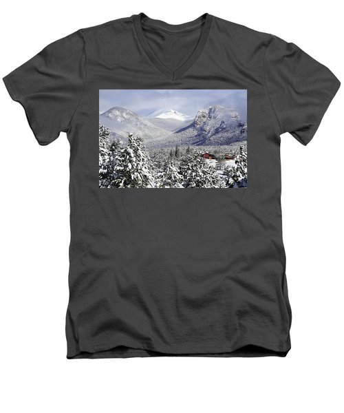 Spring Snow In Estes Park Colorado Men's V-Neck T-Shirt