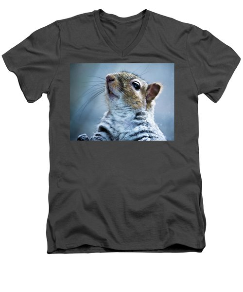 Squirrel With Nose In The Air Men's V-Neck T-Shirt