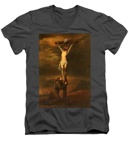 St Francis At The Foot Of The Cross Men's V-Neck T-Shirt