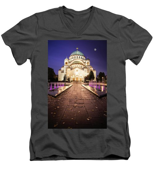 St. Sava Temple In Belgrade Nightscape Men's V-Neck T-Shirt