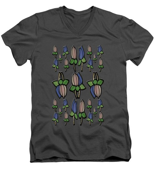 Men's V-Neck T-Shirt featuring the photograph Stain Flowers by Rockin Docks