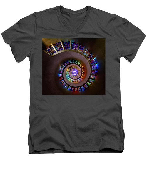 Stained Glass Spiral Men's V-Neck T-Shirt