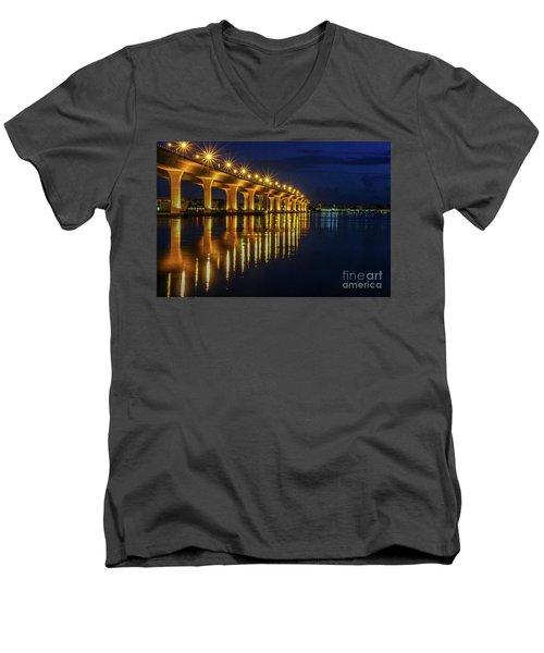 Starburst Bridge Reflection Men's V-Neck T-Shirt