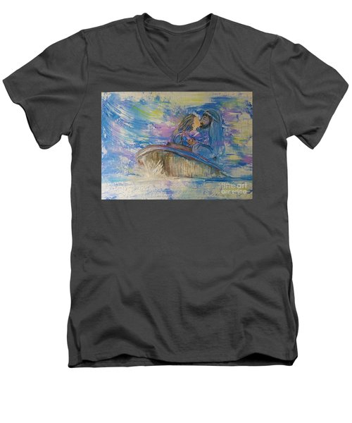 Men's V-Neck T-Shirt featuring the painting Staying The Course by Deborah Nell