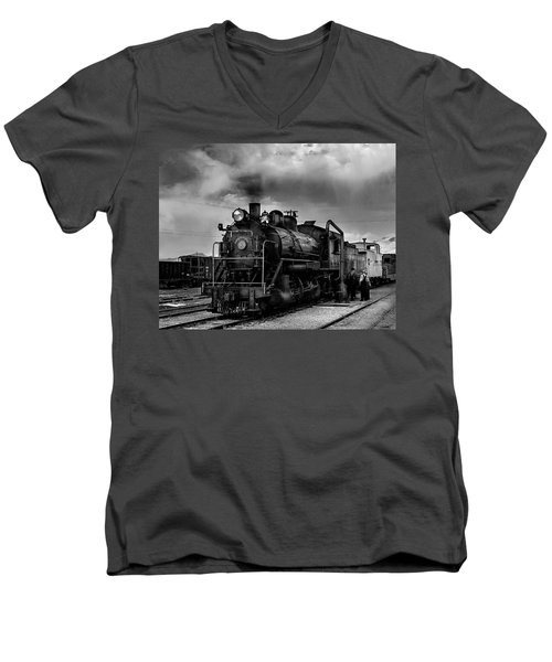 Steam Locomotive In Black And White 1 Men's V-Neck T-Shirt