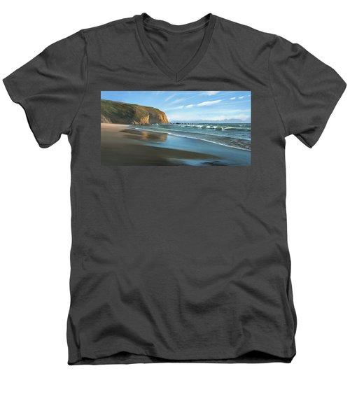 Strands Beach Dana Point Oil Painting Men's V-Neck T-Shirt