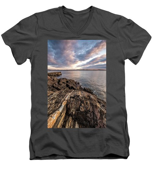 Striations. Leading Lines In The Rocks Men's V-Neck T-Shirt